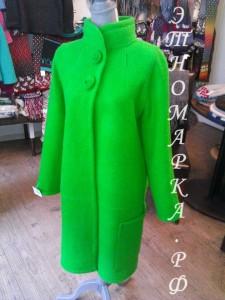 пальто шерстяное валяное зеленое